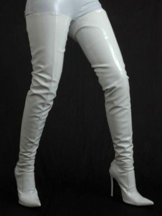 Leather thigh high boots