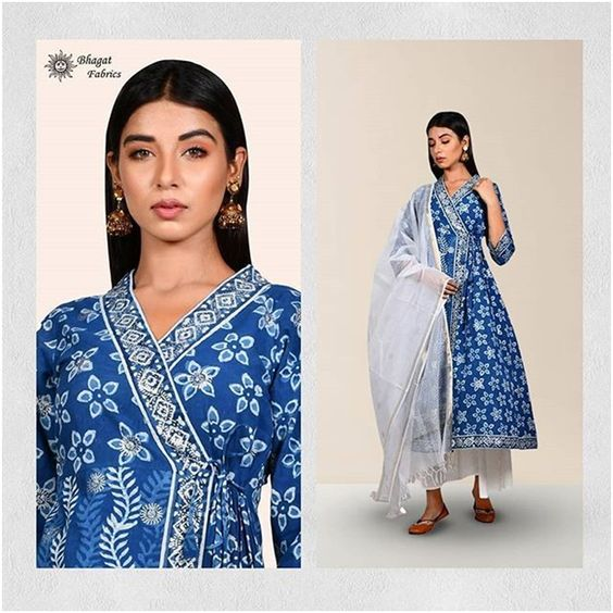 Blue Traditional mid silt Kurti-Bhagat Fabric