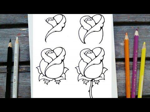 رسم سهل كيفية رسم وردة جميلة وسهلة رسم وردة للمبتدئين تعليم الرسم How To Draw A Rose Easy Youtube Cool Drawings Easy Drawings Cute Drawings