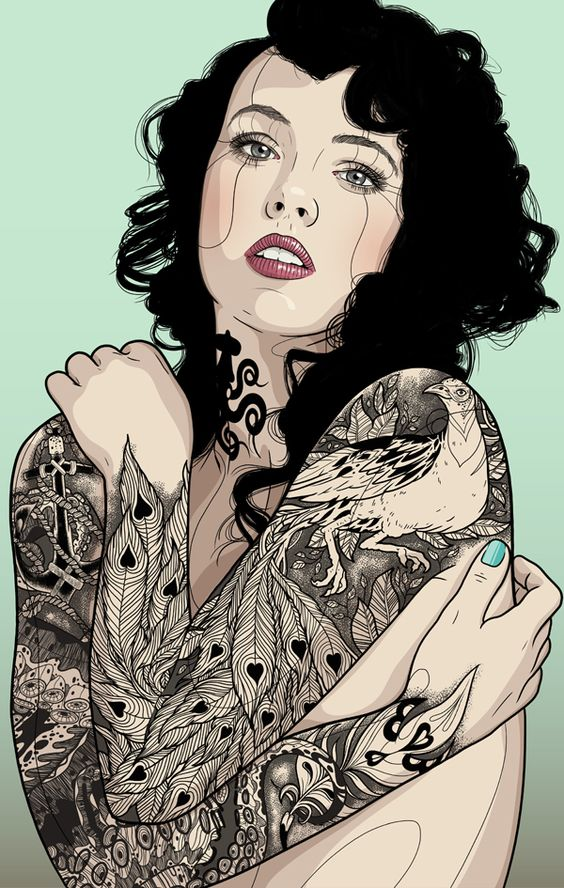 The girl with the peacock tattoo / Personal project by Tavo Montañez, via Behance