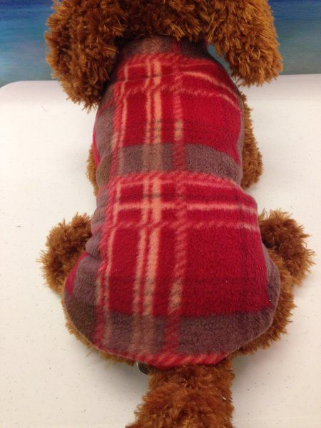 REVERSIBLE fleece dog coat-plaid dog coat red by MaggieandMoose $24.99
