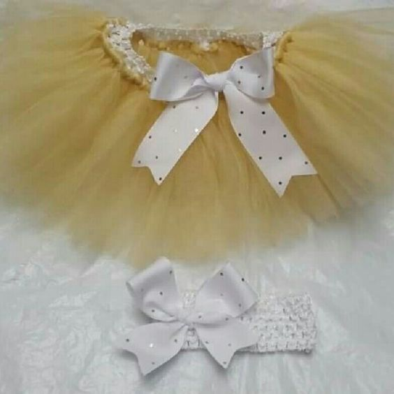 Handmade Tutu Set 3/6 Mos Gold and White, Approximately 6 Inches Skirts