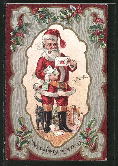 cartolina antiche: Präge-AK Weihnachtsmann liest Briefe der Wünsche aller Kinder, Katze & Stechpalmenzweige