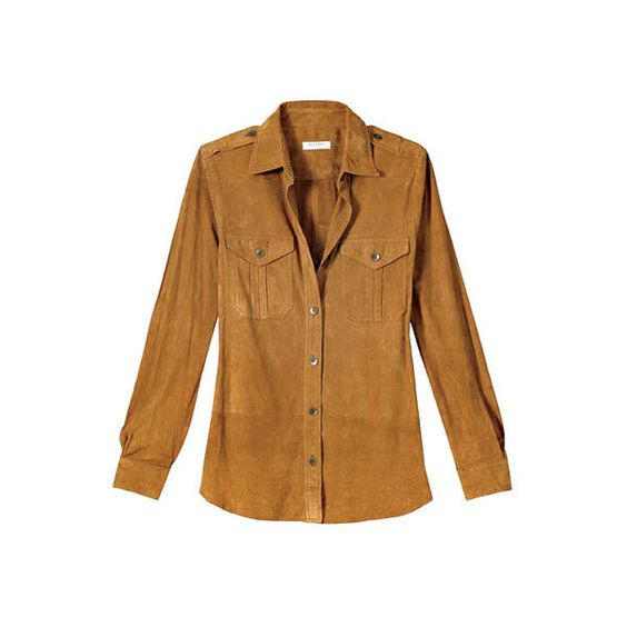 Suede Shirt, Equipment ❤ liked on Polyvore featuring tops, blouses, shirts, camisas, brown shirt, suede leather shirt, shirt top, equipment shirts and suede top