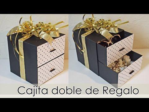Tutorial Caja Doble De Regalo Manualidades Papel Y Cartón Youtube En 2020 Cajas Manualidades Con Papel Sobres De Papel