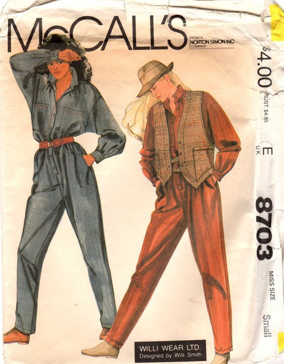 1970s McCalls 8703 Designer Willi Smith Misses Vest and Jumpsuit  womens vintage sewing pattern by mbchills on Etsy