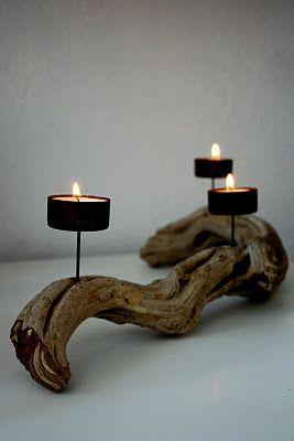 Candelabro realizado con tronco