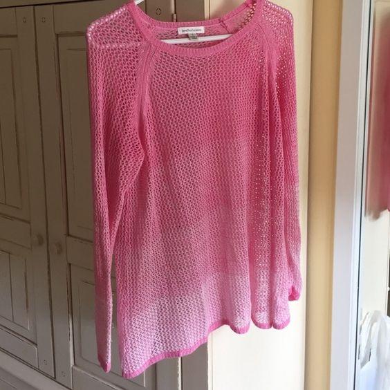 Pink ombré light weight top Open knit Tops