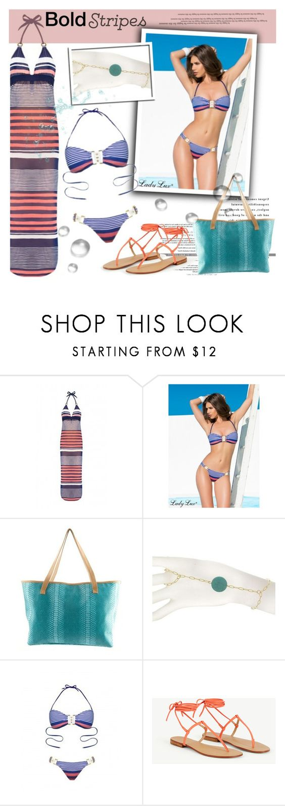 """""""Bold stripes"""" by helenevlacho ❤ liked on Polyvore featuring MINNA and LadyLuxSwimwear"""