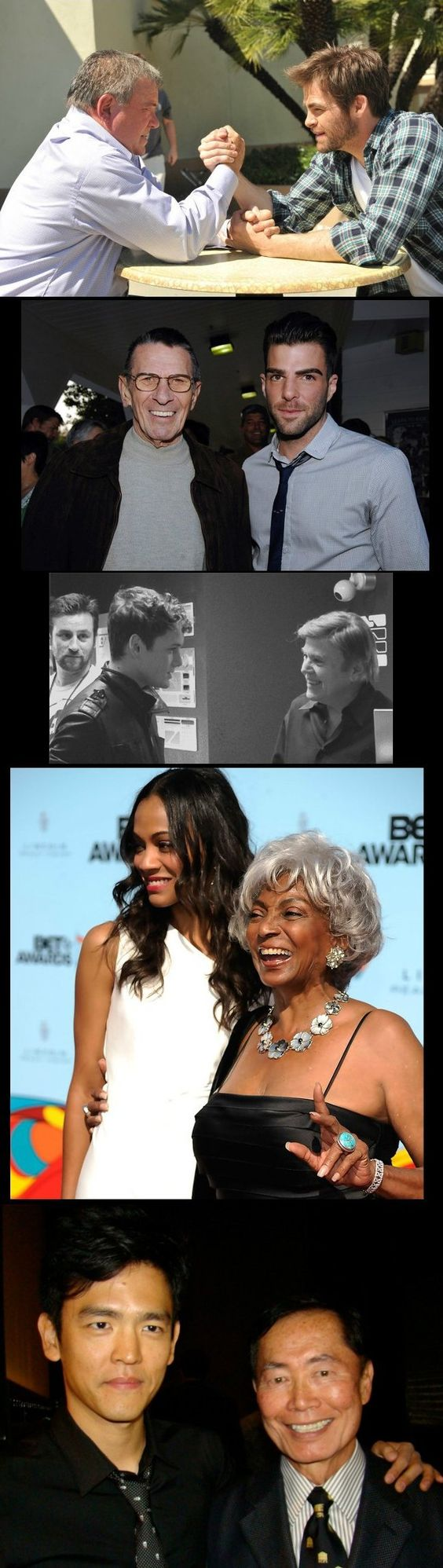 Star Trek X2. I am a nerd.. i just got teary looking at this and not sure why. I just grew up watching these people..who seem almost real, not characters and now we get to see them when they were young and beautiful..