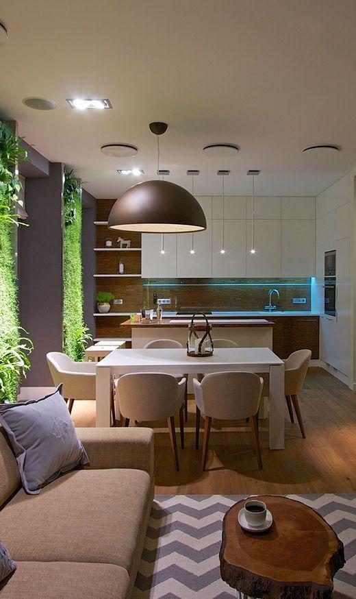 Branco, cinza e madeira clara - combinação perfeita: contemporaneidade e aconchego.