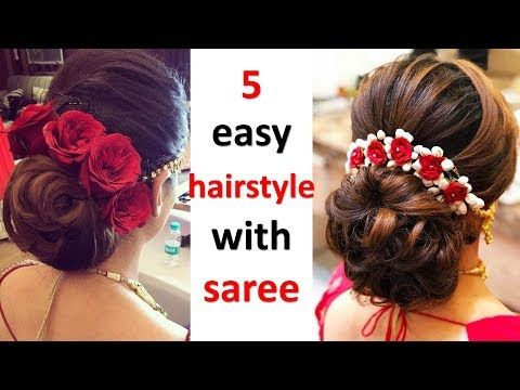 5 Easy And Quick Hairstyle With Saree Wedding Hairstyle Party Hairstyle Hairstyle For Ladies Youtube Hair Styles Classic Wedding Hair Diy Hairstyles