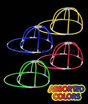 6 x Glow Stick Hat Glow in the Dark Cap Glow Sticks parties festivals concerts