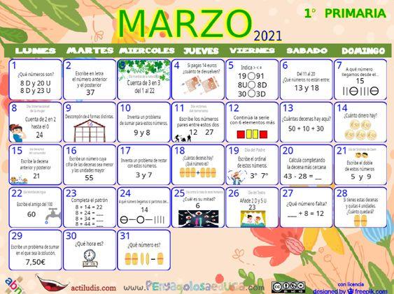 Calendario Primero ABN – Marzo 2021