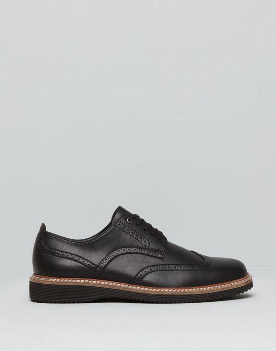 Pull&Bear - hombre - zapatos hombre - zapato picados piso eva - negro - 17490012-I2015