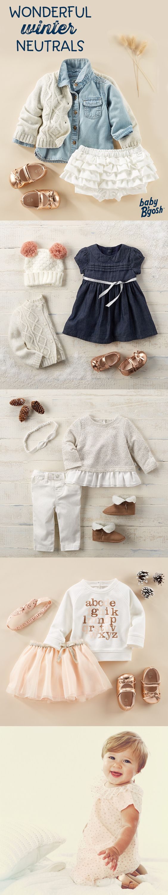 WONDERFUL WINTER NEUTRALS: A little pink and a lot of love goes into these looks from Baby B'gosh. Add a festive touch with tiny metallic ballet flats! For more winter neutrals, visit OshKosh.