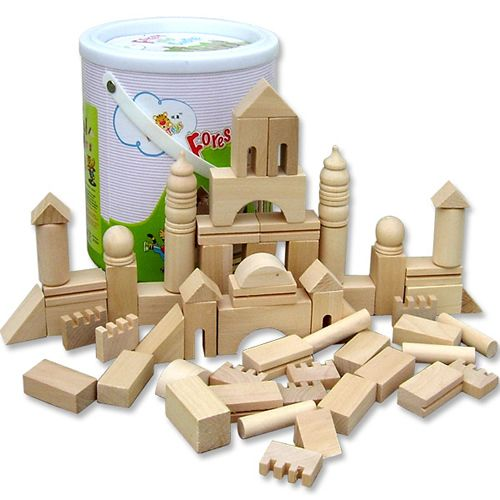 Kids Bedroom Furniture Kids Wooden Toys Online: Wooden Toy Bricks Toy: Raw Wood Building