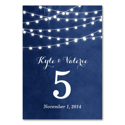 Summer String Lights Wedding Table Numbers Card