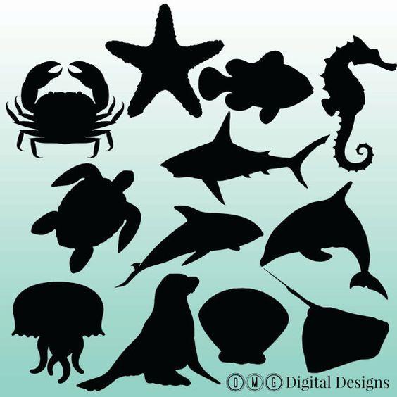 Pin By Sonia Gaspar On Nursery Animal Silhouette Sea Animals Silhouette Clip Art
