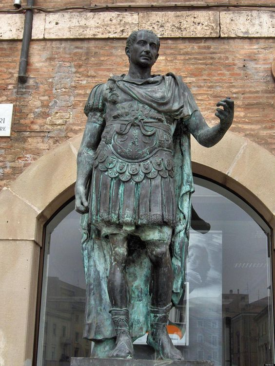 Julius Caesar. This modern statue can be seen in Rimini, Italy.