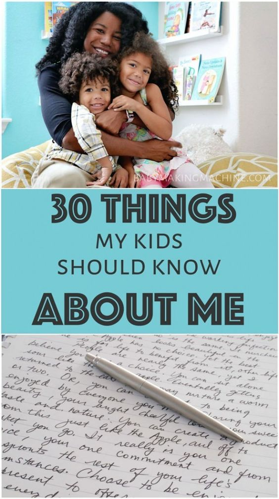 Journal prompts for parents to answer for their kids. Perfect for Mother's Day! 30 Things my kids should know about me http://www.babymakingmachine.com/2012/11/30-things-my-kids-should-know-about-me.html?utm_campaign=coschedule&utm_source=pinterest&utm_medium=Jennifer%20Borget%20%7C%20Baby%20Making%20Machine&utm_content=30%20Things%20my%20kids%20should%20know%20about%20me