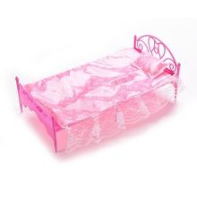 Pink Nightgown & Single Bed Dollhouse Furniture & Pillow Bed Sheet For Dolls Children Toys Color Random(China (Mainland))
