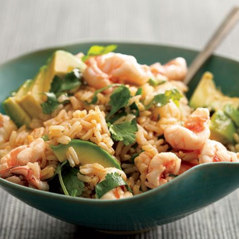 Brown Rice with Shrimp and Avocado