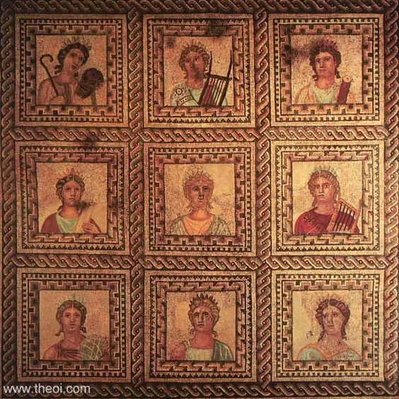 ancient greek amp roman mosaic the nine muses musas