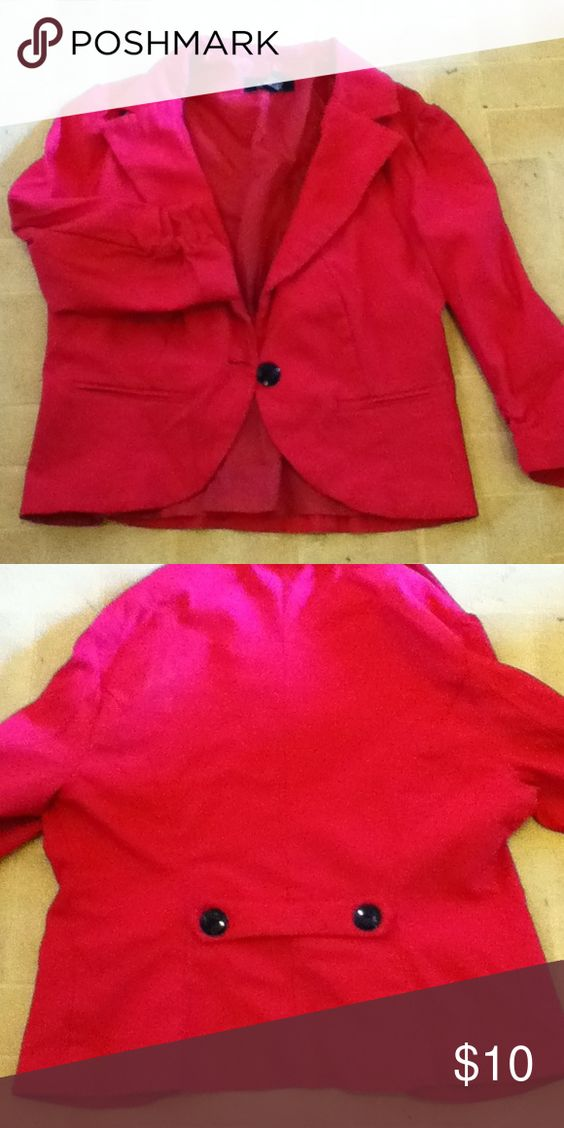 Hot pink blazer(A.Byer) Cropped look. Sleeves are quarter sleeve that can be scrunched up shorter. Very cute and has alot of shape to it. Tops