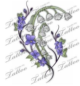larkspur and lily of the valley tattoo