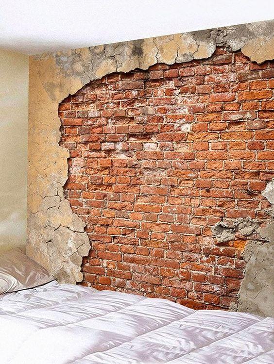 Rotten Brick Wall And Crumbled Plaster Print Tapestry Brick Wall Brick Interior Wall Faux Brick Walls