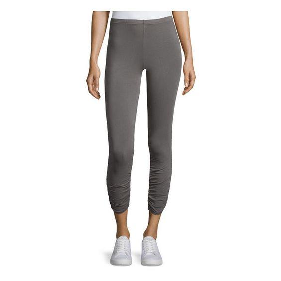 bobi Ruched Cuff Capri Leggings, Gray ($25) ❤ liked on Polyvore featuring pants, leggings, gray capri leggings, gray leggings, grey pants, elastic waist pants and capri leggings