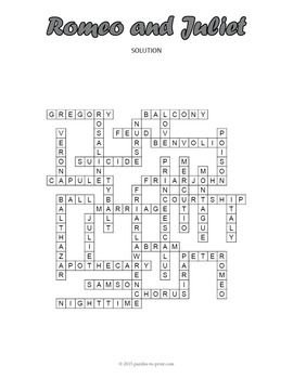 No Prep Romeo And Juliet Crossword Puzzle Romeo And Juliet