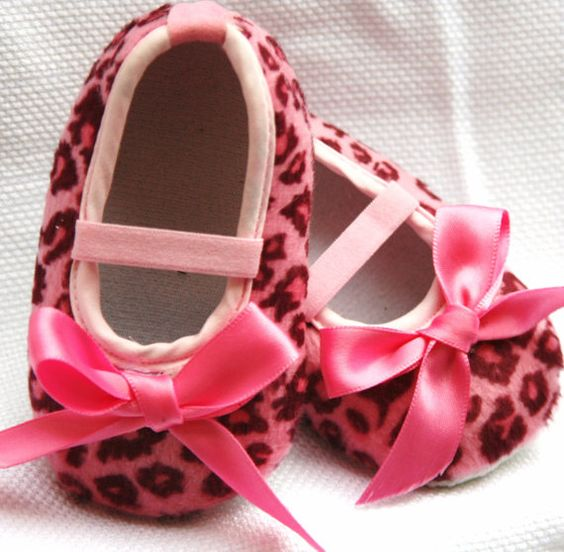 Pink Leopard Booties  baby shoes by SummerJadeBoutique on Etsy, $10.75