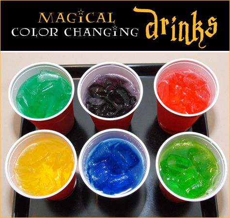 Magical Color Changing Drinks (Add food coloring to bottom of cup, let dry, add ice and Sprite and wahlah!)... Plus more Harry Potter Party Ideas