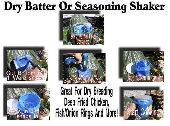 Dry batter or seasoning shaker for deep frying recipe for Fish batter shaker