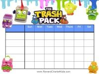 Free printable Trash Pack Reward Charts and many other designs and characters