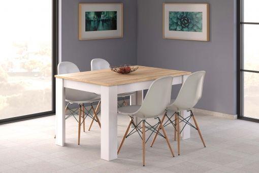 Mesa Comedor 140.Mesa Salon Comedor Extensible Color Blanco Y Roble 140