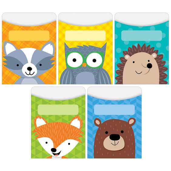 "Standard Size: 3.25"" x 4.5"" Furry animals and colorful patterns combine to give these Woodland Friends library pockets a friendly, playful look. Animals featured: fox, raccoon, bear, hedgehog and owl."