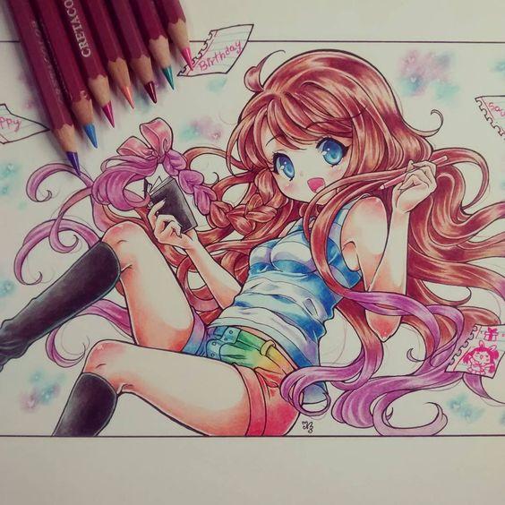 """A veces quisiera volver a pintar así, pero me acuerdo que me da la tendinitis y se me pasa :'u Tiene tiempo este dibujo pero es un regalo de cumple para una chica muy amable ^^ """"Painted with pencil cretacolor"""" #traditional #kawaii #kawaiigirl #birthday #rainbown #pencil #colors:"""