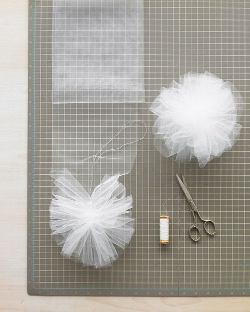 How to make tulle or net pom-pom. This would be good for making hair accessories.