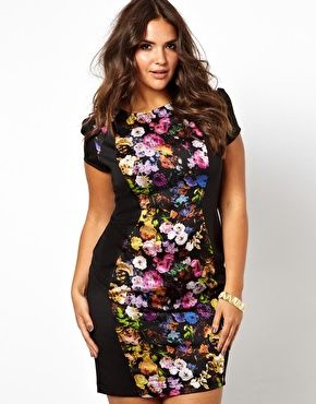 Bodycon Floral Panel Dress Black Asos Curve Plus Size: