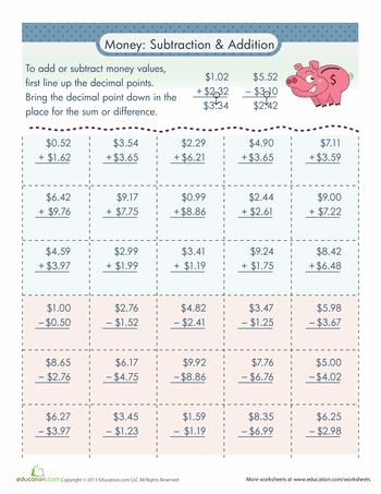 Adding and Subtracting Money Worksheets Math ideas Pinterest - subtracting money worksheet