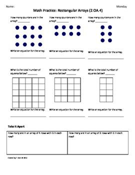 math worksheet : 2 oa 4 rectangular array 2nd grade common core math worksheets  : Common Core Math Grade 2 Worksheets