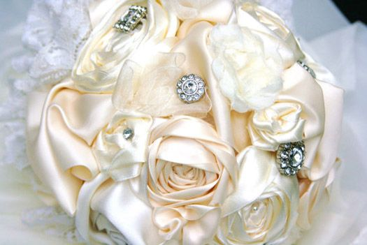 This satin bouquet is so luxurious!