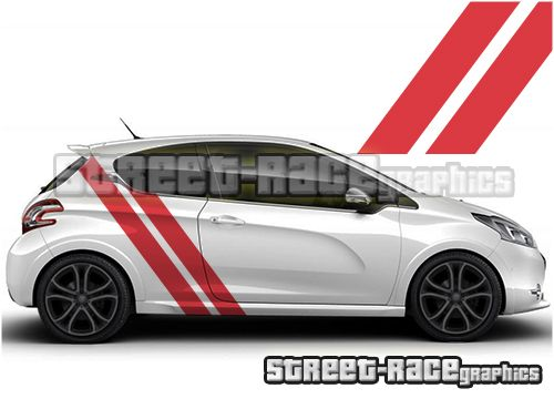 Peugeot 208 Diagonal Side Racing Stripe Graphics From Www