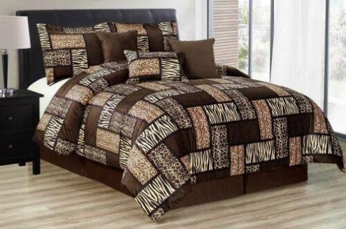 Full Queen Cal King Brown Black Burgundy Patchwork 7 pc Comforter Set Bedding