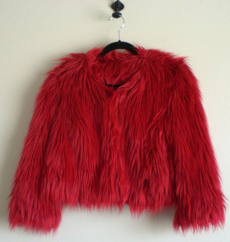 Red Faux Fur Cuff Pullover For Women: New Mod Rock Star Bright Red Faux Fur Jacket Cropped