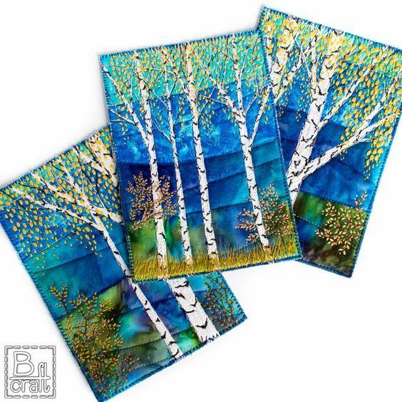 Seria Jesiennych Pocztowek Z Brzozami B Craft Fabric Postcards Landscape Quilts Landscape Art Quilts