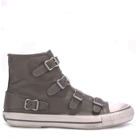 Ash Virgin Leather Buckle Trainers - Elephant (805 RON) ❤ liked on Polyvore